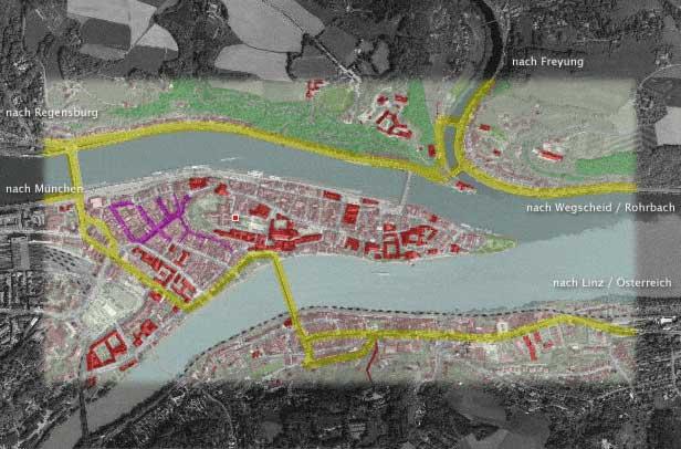 Karte der Altstadt Passau