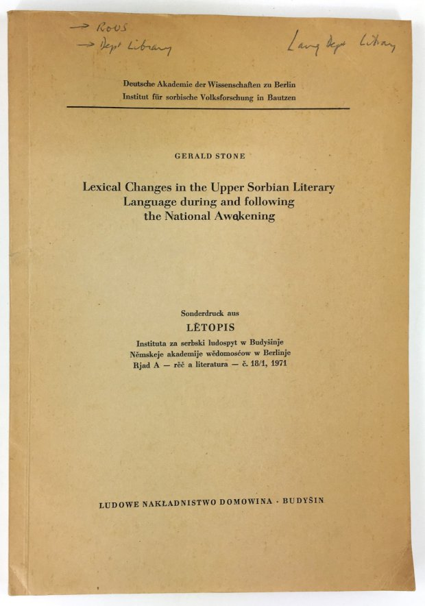 "Abbildung von ""Lexical Changes in the Upper Sorbian Literary. Language during and following the National Awakening..."""