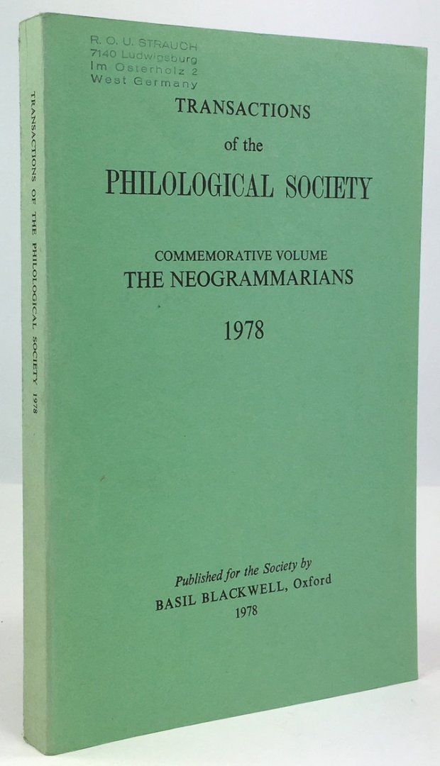 "Abbildung von ""Transactions of the Philological Society. Commemorative Volume: The Neogrammarians 1978."""