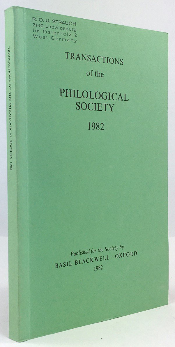 "Abbildung von ""Transactions of the Philological Society 1982."""